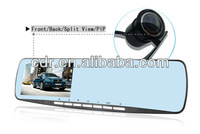 "Free Shipping 2013 new blue mirror 4.3"" car dvr dual camera rear view mirror with Allwin F20 Chipset and G-sensor"
