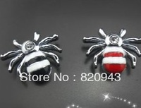 50pcs 8mm mixed color Spider slide charm can go through 8mm band fit wristband pet collar/ key chain