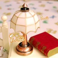 iland 1/12 Dollhouse Miniature Study Room Dinning Room Bedroom  White Tiffany table lamp LED light LD006E classic toys