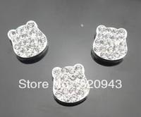 50pcs 8mm rhinestone bear Slide Charms Fit Pet Dog Cat Tag Collar Wristband
