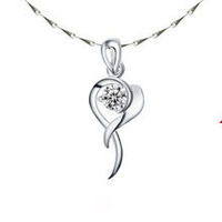 top quality 100% pure 925 sterling silver platinum crystal heart pendant necklace fine jewelry HN016