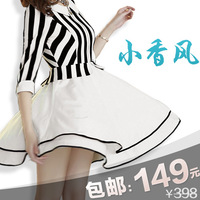 Autumn black and white stripe one-piece dress short dress faux two piece half sleeve multi-layer slim