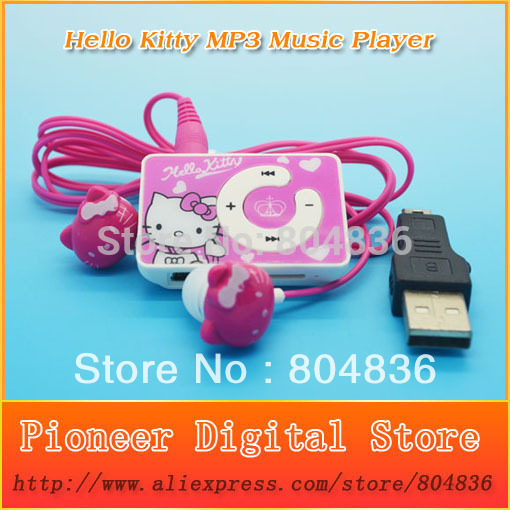 Hot Sell Hello Kitty Christmas Gift MP3 Music Player Support Micro TF Card With Kitty Earphone&Mini USB Free Shipping(China (Mainland))