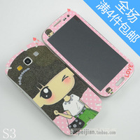 For samsung   i9300 color film girls small  for SAMSUNG   s3 pearl aoid undesirable personality cartoon before and after the