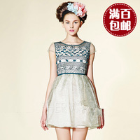 High quality high quality organza lines of the paragraph embroidered formal dress one-piece dress