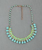 New Free Shipping Fashion vintage fashion mint green gem necklace female short design fashion accessories