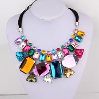 New Free Shipping Fashion necklace female short design big gem vintage false collar accessories female multicolour