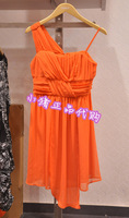 Only orange asymmetrical type pressure pleated formal dress one-piece dress 112207060 2207060