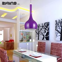 Modern brief fashion purple bottle single head dining room pendant light table lamp