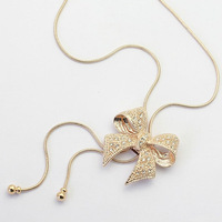 Newborn ladies noble jewelry bow tie necklace with rhinestones sweater chain A3041
