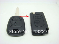 Free shipping High Quality Blank Folding Remote Key Case Shell For PEUGEOT 206 207 307 2 Buttons