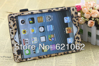 Free shipping,Wholesales 2013 New arrival Fashion Brown leopard Leather bags Case for ipad mini