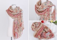 Free shipping Women's Fashion Long Soft Shawl Stole Chiffon Gadient Scarf ladies georgette scarve wrap