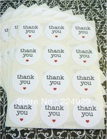 "thank you circle stickers 1.5"" white paper, envelope seals, stickers"