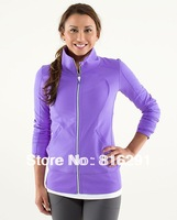 Lululemon scuba Lady Sport Athletic Jacket yoga wear coat Women's hoodies fashionable  clothing clothes purple color 607