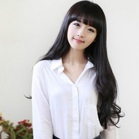 Wig long big wave girls wig qi long curly hair fluffy bangs repair