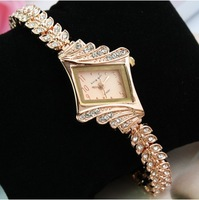 2pcs/lot Rose Gold Fashion Rhinestone premium women's bracelet watch Wristwatches Titanium Material