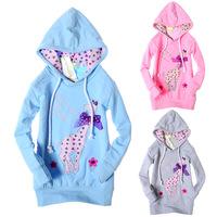 Retail 1 pcs spring and autumn 2013 children Hoodies & Sweatshirts girl long-sleeve jacket coat cartoon print New CC0558