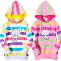 Retail 1 pcs children Hoodies sweatshirt spring and autumn 2013 girl color stripe long-sleeve jacket cartoon print new CC0560