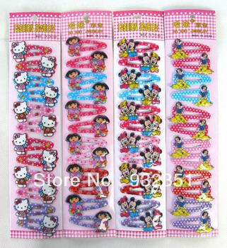 Fashion Hello Kitty/princess Dora Mickey baby girls BB hair clips+elastic hair bands 120 pcs/lot cartoon hair accessories