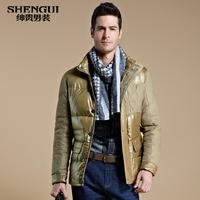 Free shipping Medium-long 2013 winter down coat men's clothing business casual slim thermal down coat male