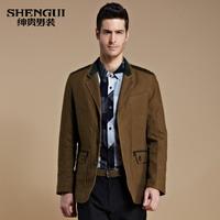 New2013 Male blazer 100% cotton suit fashion blazer slim blazer men's clothing