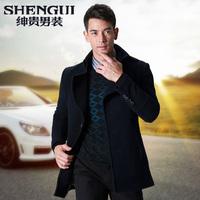 New2013 Autumn male wool coat medium-long male fashion slim woolen men's clothing outerwear