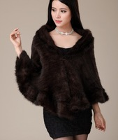 2013 newest  women luxurious genuine mink fur  shawl /poncho/ wraps hand-knit fur coat  free size  DHL/EMS free shipping