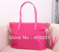 Hot sale high quality waterproof nylon TB woman handbags lady totes fusha/beige/black with logo