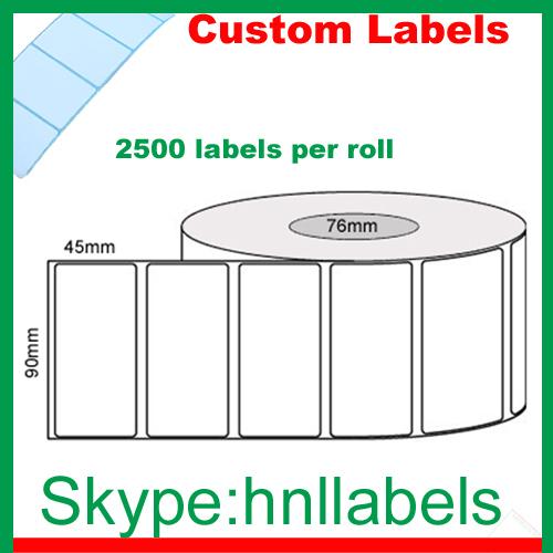 Custom Labels 90mmX45mm/1 Plain Gloss Roll Permanent, 2,500Lpr, 76mm core(China (Mainland))