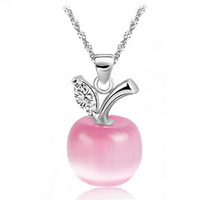 sales 100% pure 925 sterling silver platinum pink apple crystal pendant necklace wedding jewelry HN029