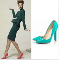 Free shipping 2013 New style Fashion brief pure color OL leather thin heels shoes Pointed Toe Pumps for women  on sale