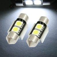 100 x 31mm/ 36mm 2 SMD 5050 LED Canbus Error Free White Car Interior Festoon Light Bulbs