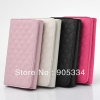 DHL Free shipping,500pcs/lot,Luxury Grid Leather Cover Flip Case For iphone 4 4s iphone5 5G With Lanyard Card Universal Edition
