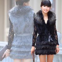 New arrival large raccoon fur vest rabbit fur coat