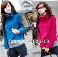 Free shipping Women Korean Fashion Fit Slim Temperament Woolen Collar Jacket Turtleneck Coat Outwear 4 Colors
