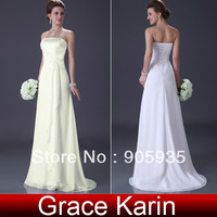 Free Shipping 2013 New Arrival! Chiffon Formal Column Beach Wedding Dress Bridal Gown CL3184