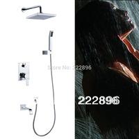Copper Chrome Square Bathroom Shower Hotels Faucet Shower Set Bath Mixer Water Tap lanos torneira chuveiro benheiro grifos ducha
