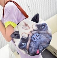 2014 new shoulder bag cat and dog print bag wave packet latest design animal print handbag shoulder bag canvas bag,GH15