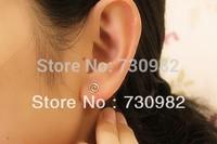 pure 14k  glod  women S Earrings small cross round earrings  fashion jewelry free shipping