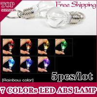 5pcs/lot MINI LED Flashlight Light Bulb Key Ring Keychain Lamp Torch 7 Colors Blinking ABS ACRYLIC Cover Free Shipping d23 New