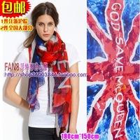 Free shipping Mcq imitation silk fashion Union Jack british flag red and blue colorful big scarf cape female long scarves shawl