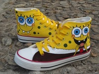 2013 Newest Fashion Free shipping Spongebob Squarepants canvas shoes Medium belted Mens Casual  shoes for boy&girls