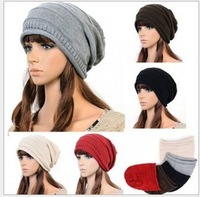 2014  Free Shipping New  Fashion Folding Black Women Winter Hats Best Selling Women Warm Knitting Wool Cap Girls Autumn Beanies