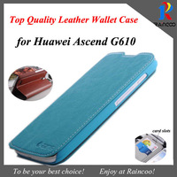 Brand New for Huawei Ascend G610 Top Quality Leather stand case, PU leather wallet case with card slots,6 color,free shipping