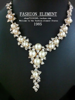 F . e and luxurious noble ladies pearl banquet chain sets necklace wedding dress chain