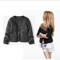 Spring and autumn female child PU jacket baby clothing punk PU leather children's jacket outerwear coat thin cardigan