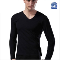Long themal underwear for men Cotton pyjamas V-neck winter 2014 new t shirts long black high quality Free shipping