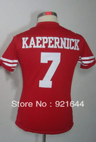 Free Shipping -#7 Colin Kaepernick Women's Game Team Red Football Jersey
