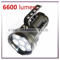 Free Shipping Super Bright 6 x Cree XM-L U2 LED 5-Mode 6600 Lumens Flashlight Torch Best quality (3 x 26650)